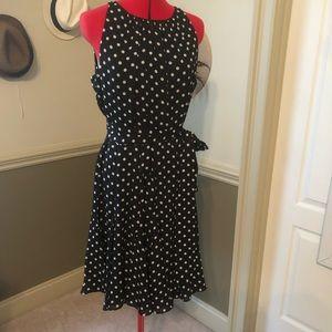 Classic polka dot dress with tie waist